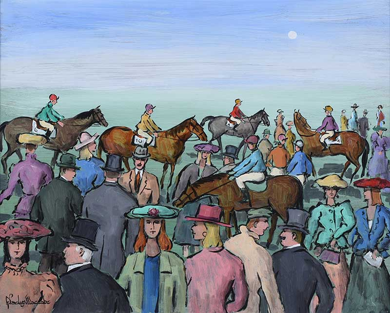 Lot 11 - Gladys Maccabe, HRUA - AT THE RACES - Oil on Board - 16 x 20 inches - Signed
