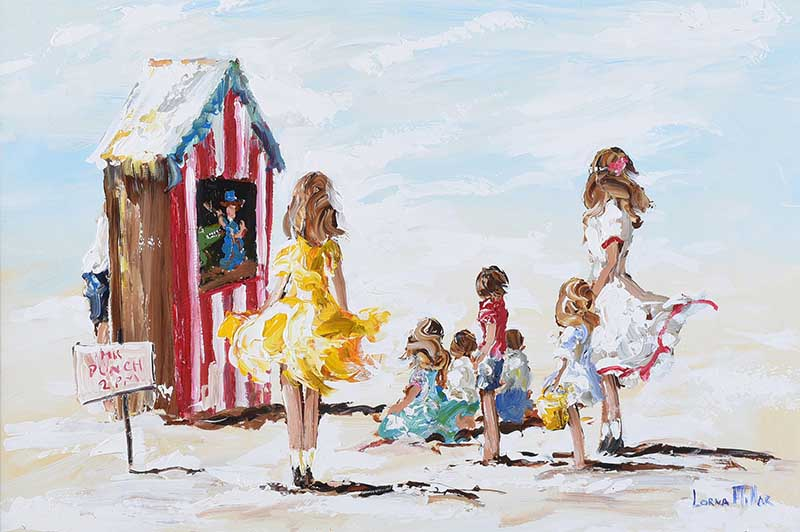 Lot 51 - Lorna Millar - THE PUNCH & JUDY SHOW - Oil on Board - 20 x 30 inches - Signed
