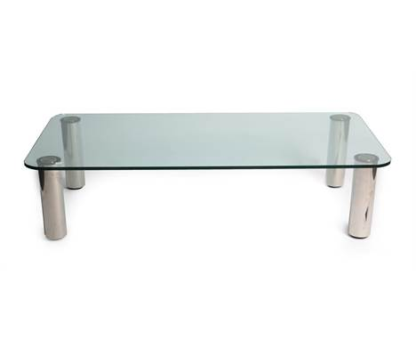 An Italian Marcuso Coffee Table, designed by Marco Zanuso for Zanotta, 1970's, the rounded glass top on four stainless steel