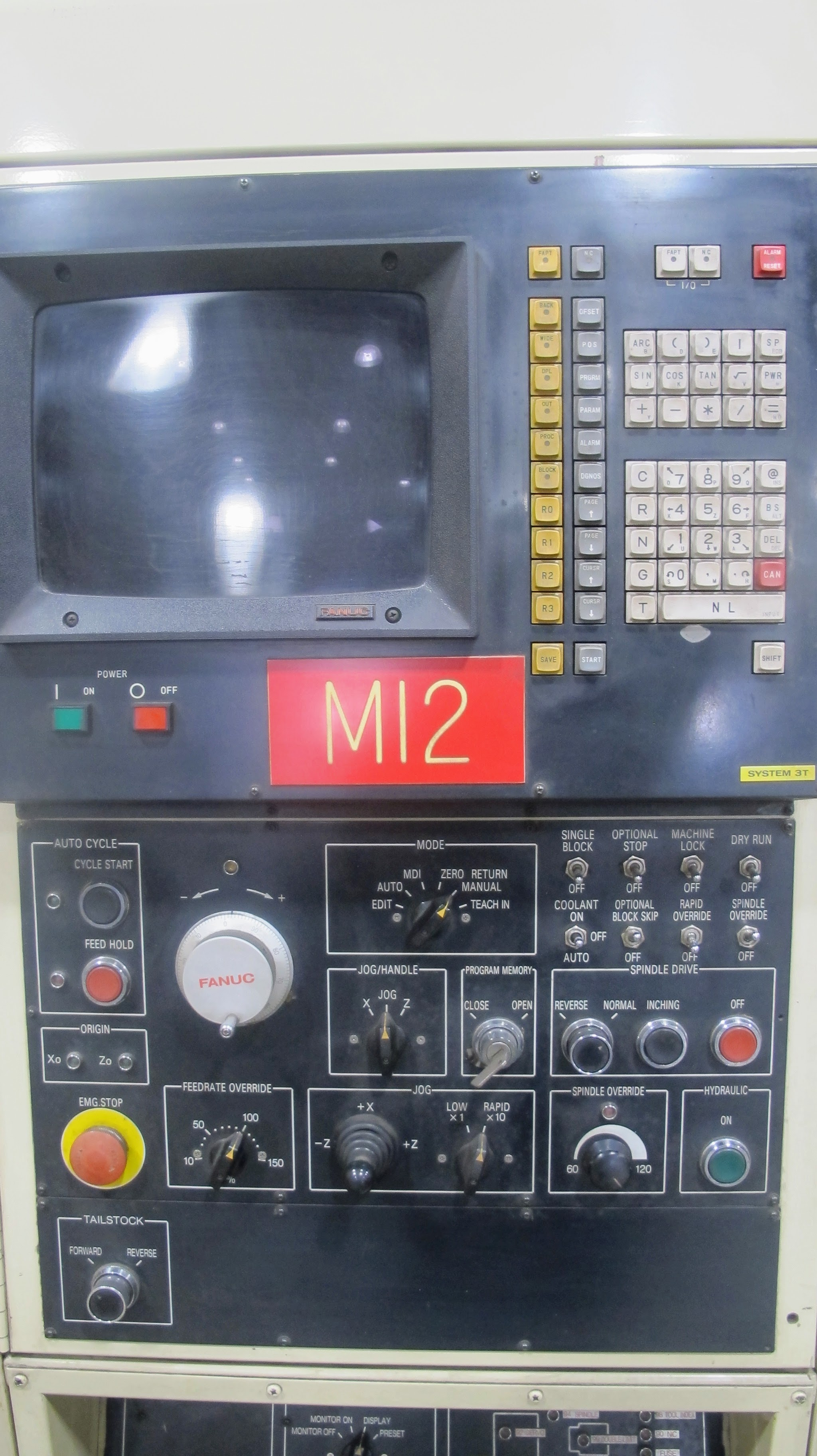 "OKUMA ACT-4 CNC LATHE W/12"" 3 JAW CHUCK, FANUC CONTROL, TAIL STOCK, ATC-12 W/10 TOOL HOLDERS, - Image 3 of 17"
