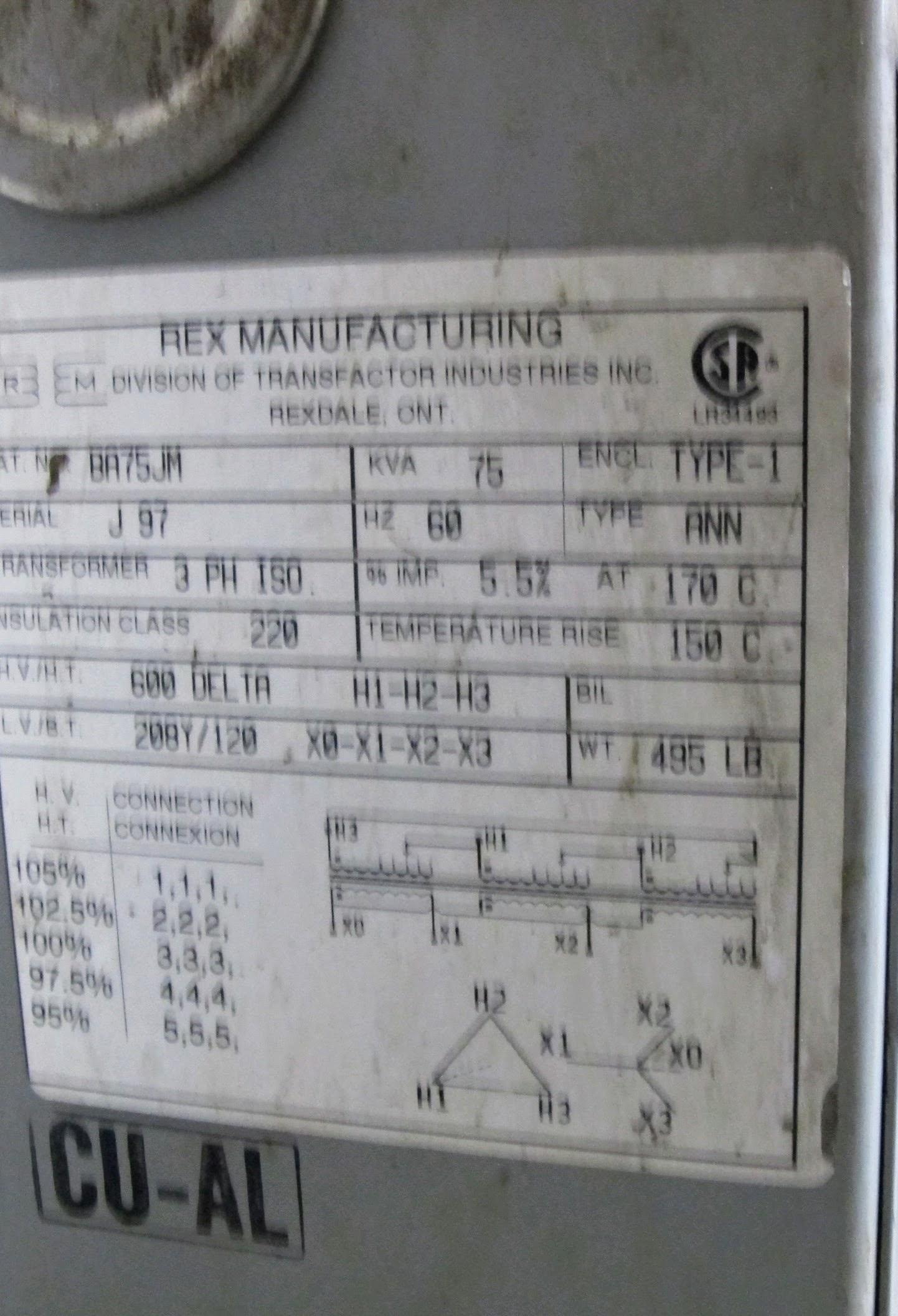 REX TRANSFORMER 75KVA, 3 PHASE, 600V - 208V - Image 2 of 2