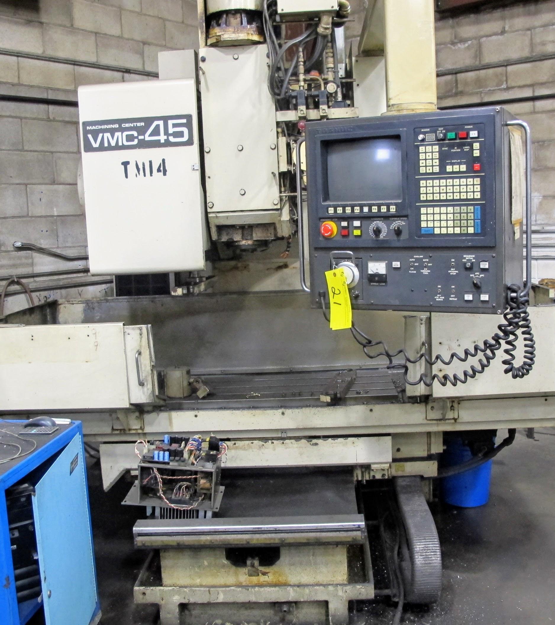 "SHIBAURA VMC-45 CNC VERTICAL MACHINING CENTER, 18"" X 40"" TABLE, TOSNUC CNC CONTROLS, 20 ATC, COOLING"