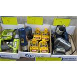 LOT OF 3 BOXES OF RYOBI CORDLESS DRILLS, CHARGERS AND 18V BATTERIE