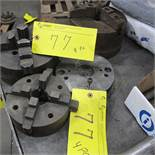 """LOT OF 2-4 JAW CHUCKS 8""""/6"""" AND 1-3 JAW CHUCK 8"""" W/BACK PLATE"""