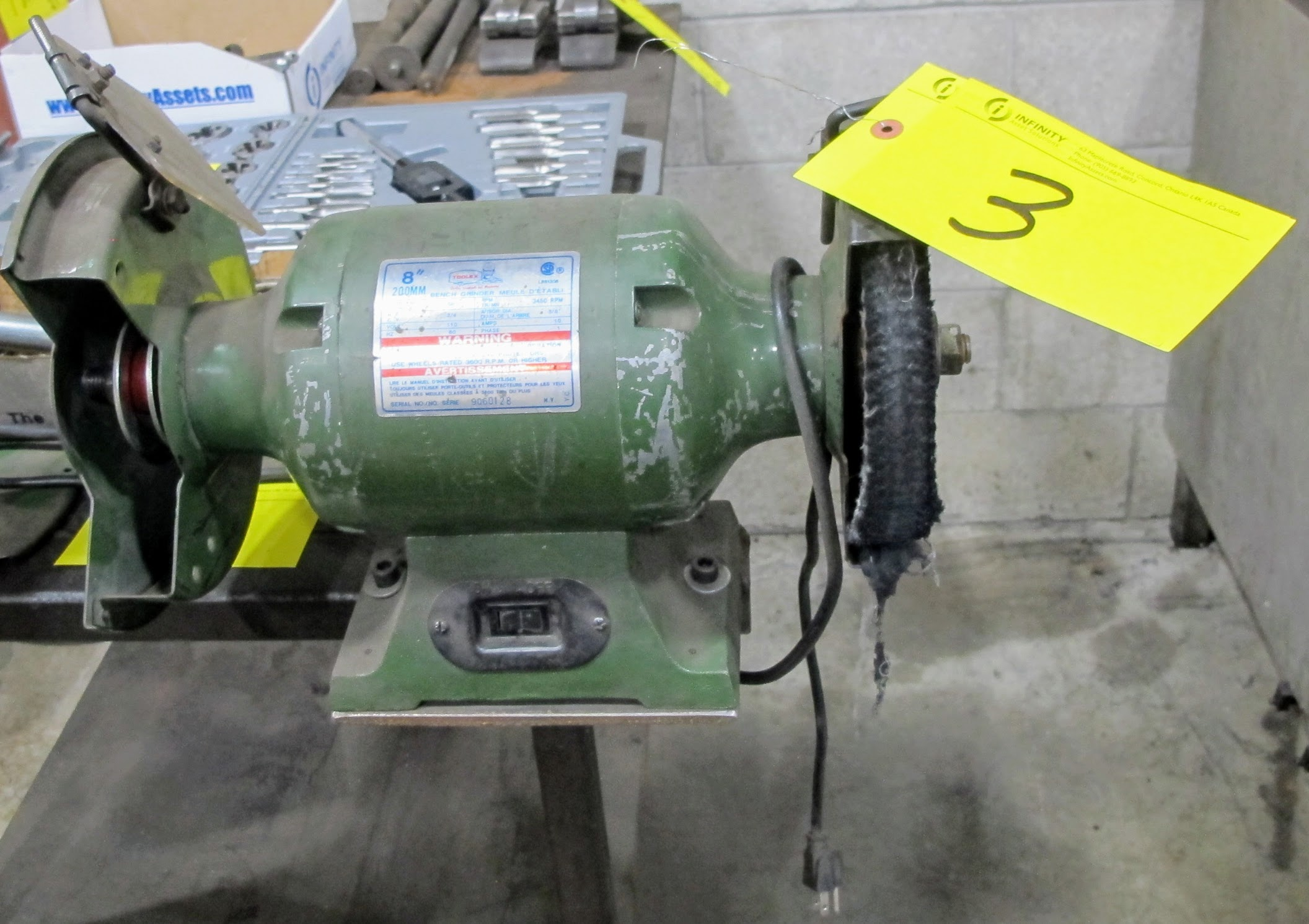 """TOOLEY 8"""" BENCH GRINDER/POLISHER, 200B 8"""" BENCH GRINDER W/METAL TABLE, 26"""" X 48"""" W/1/2"""" PLATE"""