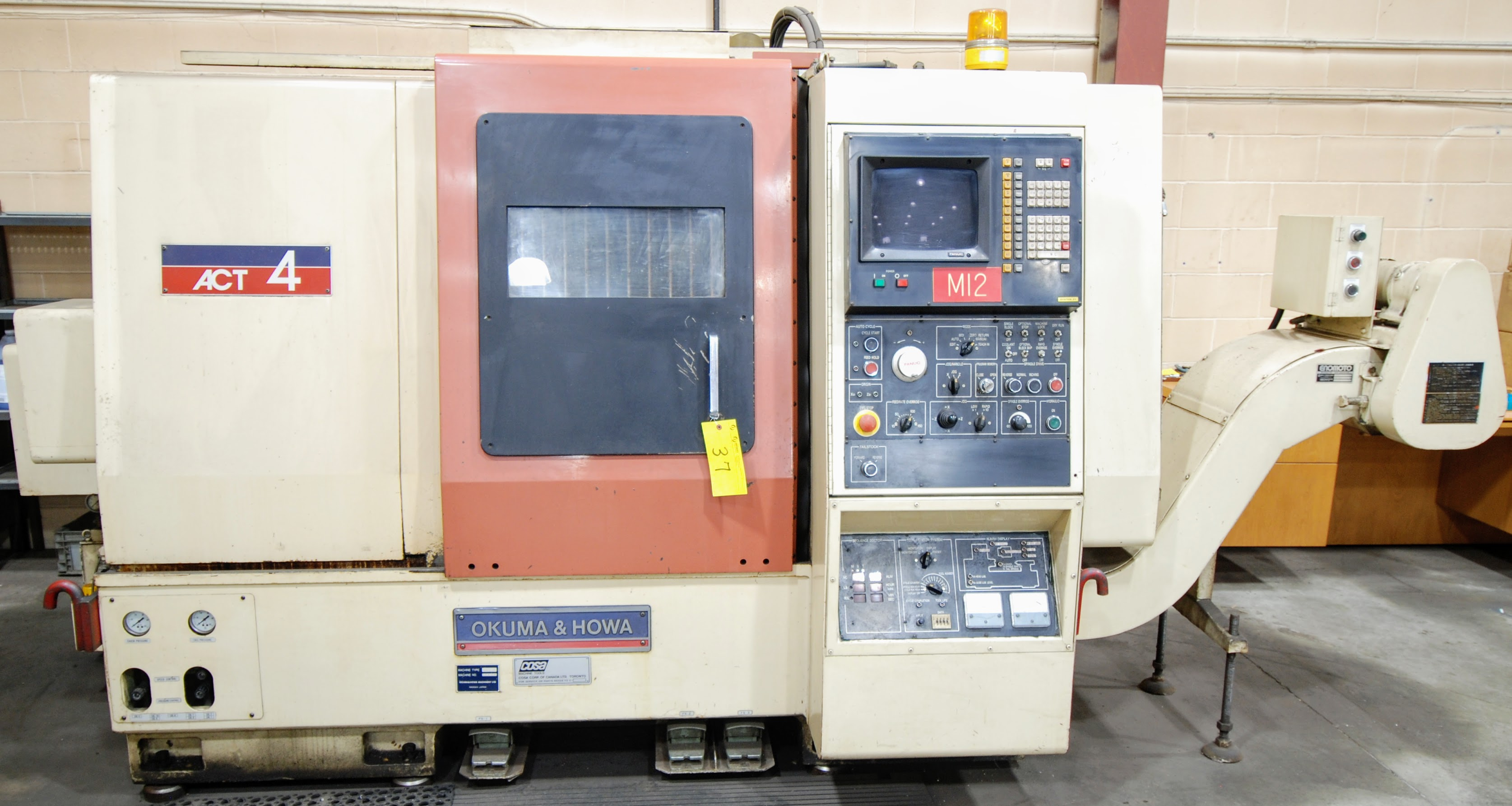 "OKUMA ACT-4 CNC LATHE W/12"" 3 JAW CHUCK, FANUC CONTROL, TAIL STOCK, ATC-12 W/10 TOOL HOLDERS, - Image 2 of 17"