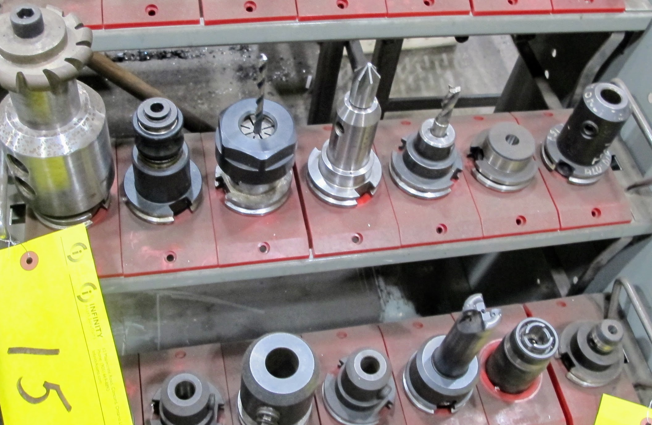 LOT OF 7 CAT 40 TOOL HOLDERS W/ATTACHMENTS