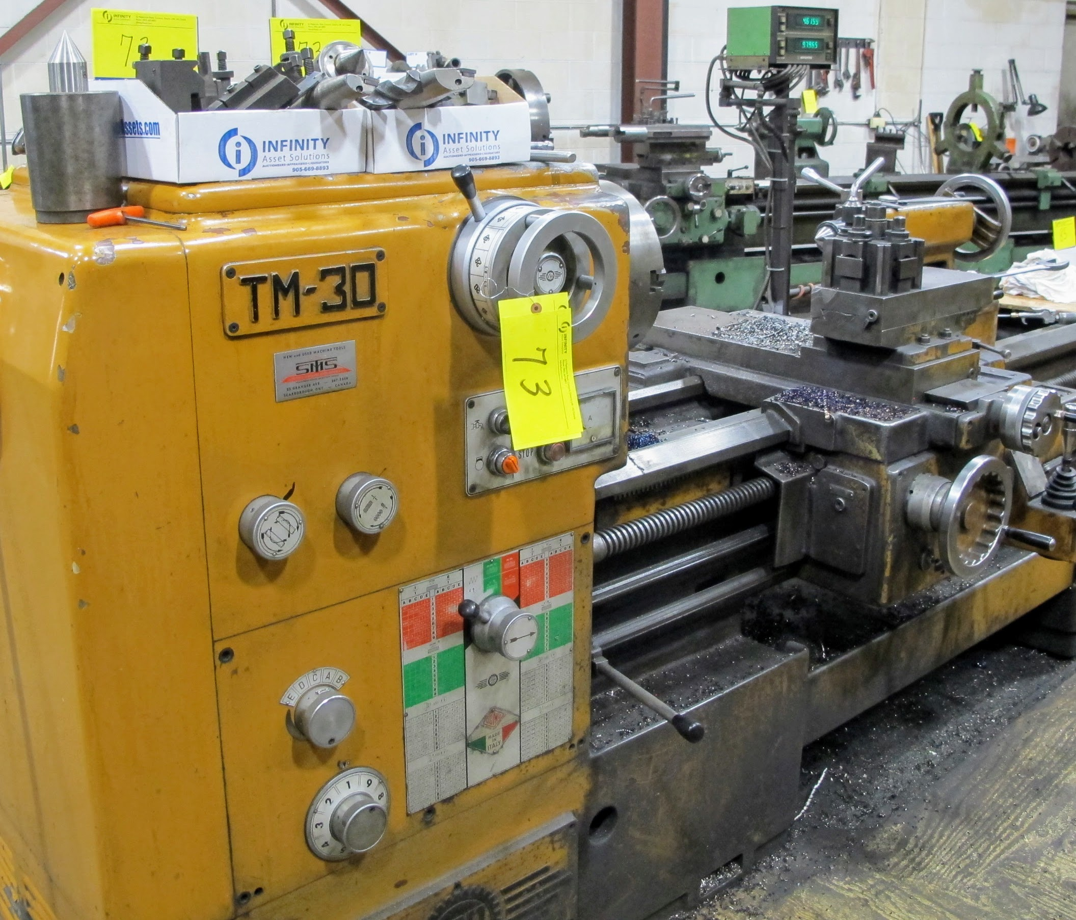 """PBR TM-30 LATHE, 2-AXIS DRO, 12"""" 3-JAW CHUCK, 12' BED, 15 - 1,500 RPM, QUICK CHANGE TOOL HOLDER,"""