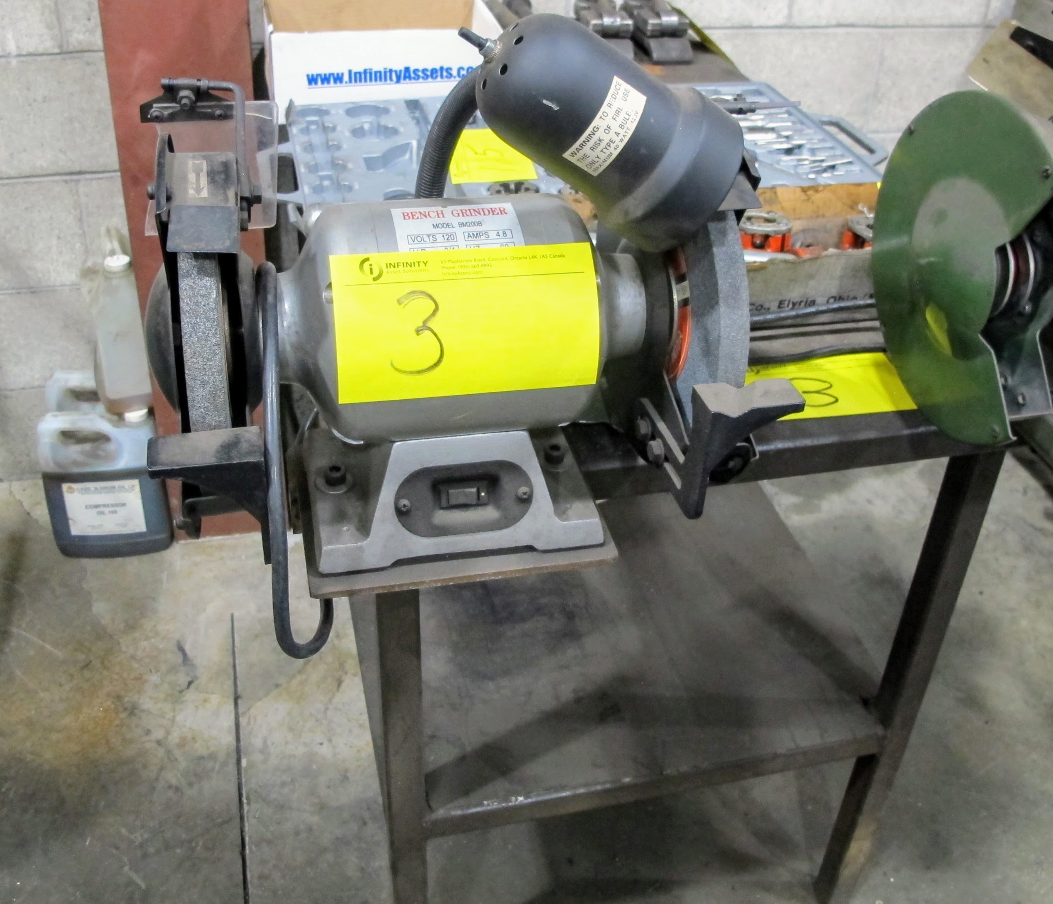 """TOOLEY 8"""" BENCH GRINDER/POLISHER, 200B 8"""" BENCH GRINDER W/METAL TABLE, 26"""" X 48"""" W/1/2"""" PLATE - Image 2 of 2"""