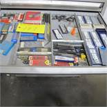 CONTENTS OF 1 DRAWER OF ROUSSEAU CABINET (CARBIDE CUTTING BIT KITS, ETC)