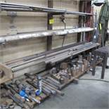 """CANTELIVER STEEL RACK, 6 LEVELS W/BAR AND METAL CUTOFF STOCK (36""""D X 8'T X 15'W)"""