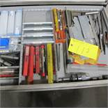 CONTENTS OF 1 DRAWER OF ROUSSEAU CABINET (FILES, CHUCKS, TOOL HOLDERS, REEMERS)
