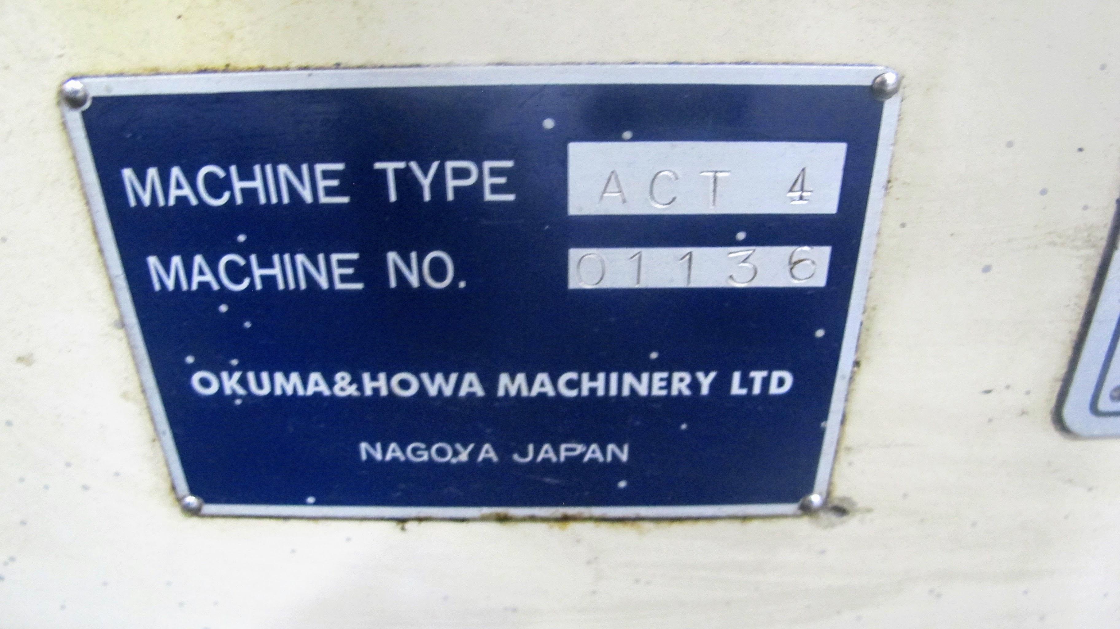 "OKUMA ACT-4 CNC LATHE W/12"" 3 JAW CHUCK, FANUC CONTROL, TAIL STOCK, ATC-12 W/10 TOOL HOLDERS, - Image 17 of 17"