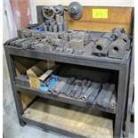 3 LEVEL SHELVING UNIT W/TOOL HOLDERS AND CARBIDE CUTTER BARS, CHUCK JAWS