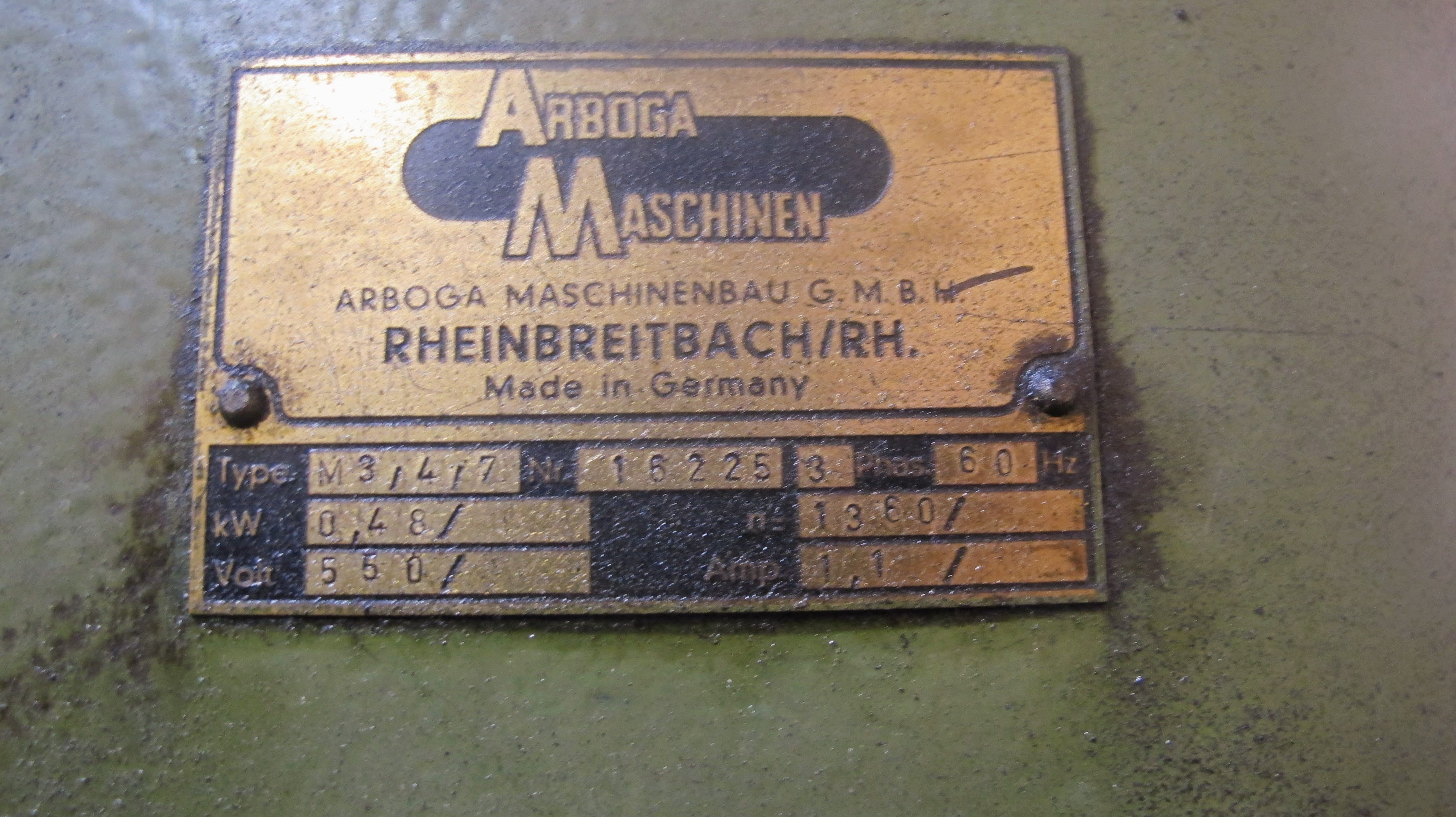 """ARBOGA MASCHINEN M3/4/7 DRILL PRESS, 1 1/4"""" BORES, 60V, 28"""" X 20"""" TABLE, 63 TO 800 RPM, S/N 16225 - Image 5 of 5"""