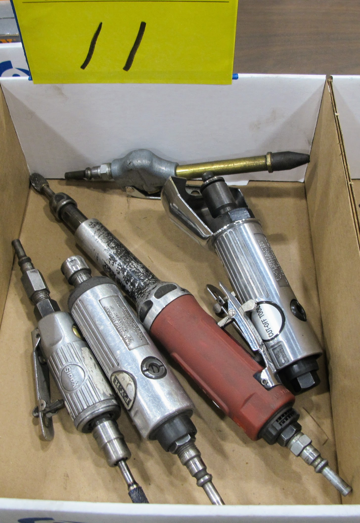 "LOT OF 1 BOX OF SIOUX, PYH, POWERFIST PNEUMATIC TOOLS (TIP GRINDER, DRIVERS, 3"" CUTOFF TOOL)"