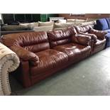 TAN LEATHER 3 SEATER SOFA AND CHAIR (DAMAGED BROKEN ZIP ) (ST31-392671=14-15)
