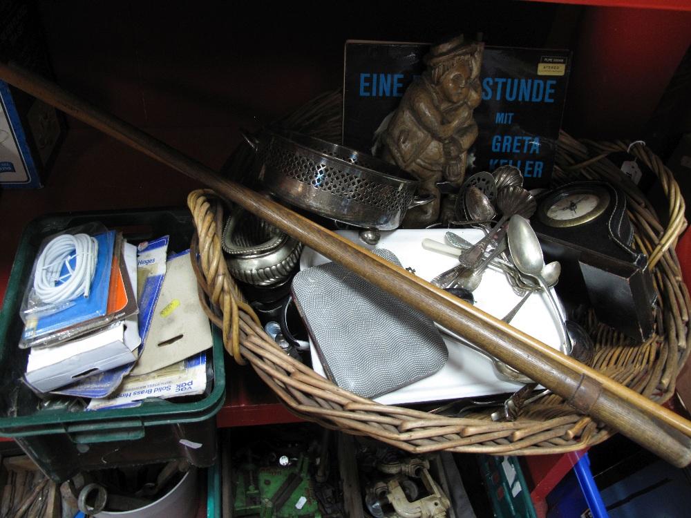 Lot 19 - Loose Plated Cutlery, enamel dish and cover, mantel clock, LP's, cameras, binoculars, E. J. Riley