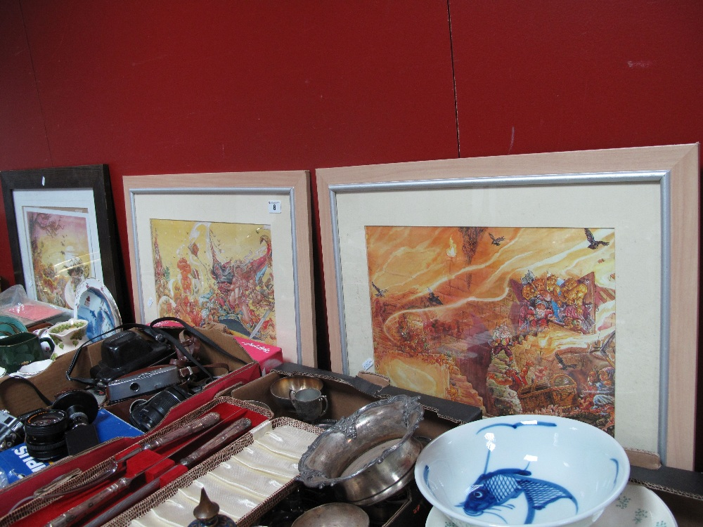 Lot 8 - Josh Kirby Three Fantasy Prints, including 'Sorcery', 'The Colour of Magic', approximately 28 x
