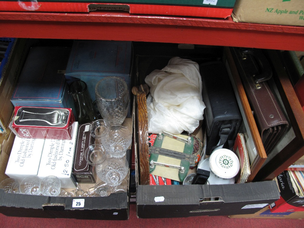 Lot 25 - Glassware, satchel, binoculars, Indian table, etc:- Two Boxes