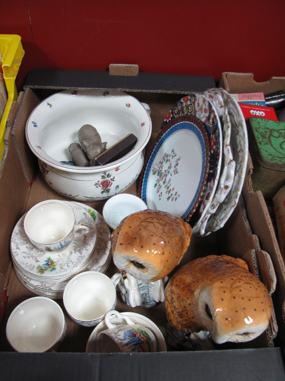 Lot 11 - Minton and Other Plates, pair of Leonardo owls, chamber pot, etc:- One Box