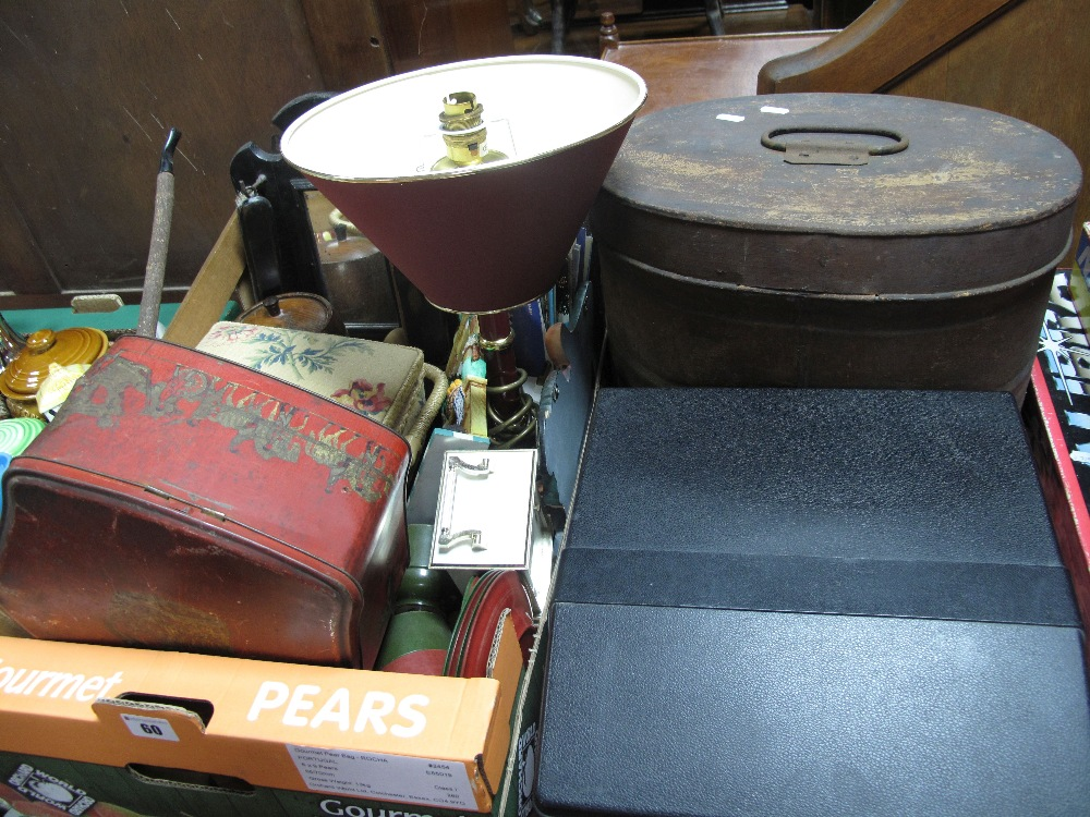 Lot 60 - A Sewing Box and Contents, tin box, postcards, hall clothes brush set, table lamp, typewriters,