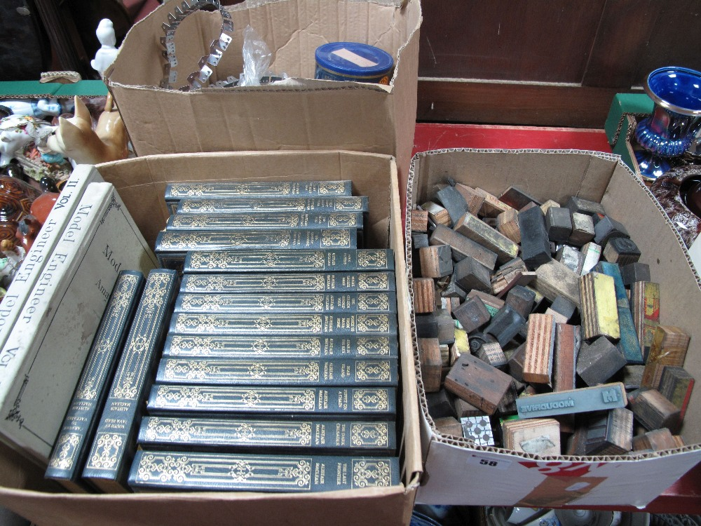 Lot 58 - Heron Books, Alistair Maclean, model engineer reprints, printing blocks, etc:- Three Boxes