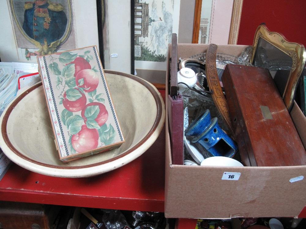 Lot 16 - A Mahogany Box, ceramics, picture frames, earthenware mixing bowl, etc.