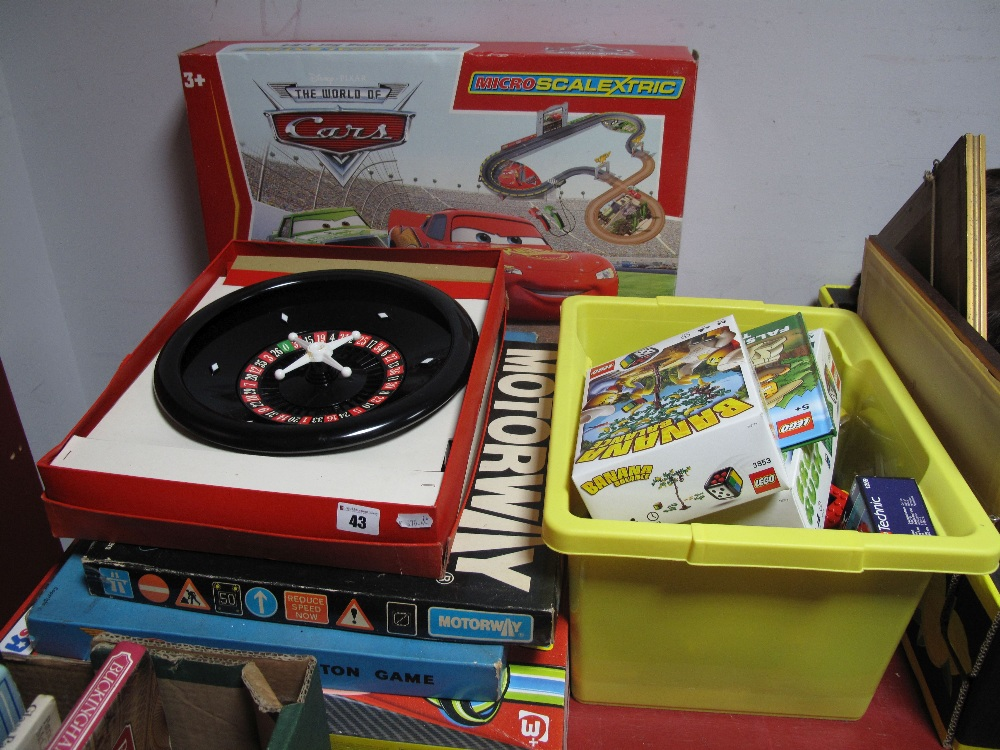 Lot 43 - Two Scalextric Pixar Cars Micro Sets, a quantity of modern Lego (boxed and loose), Go, Roulette,