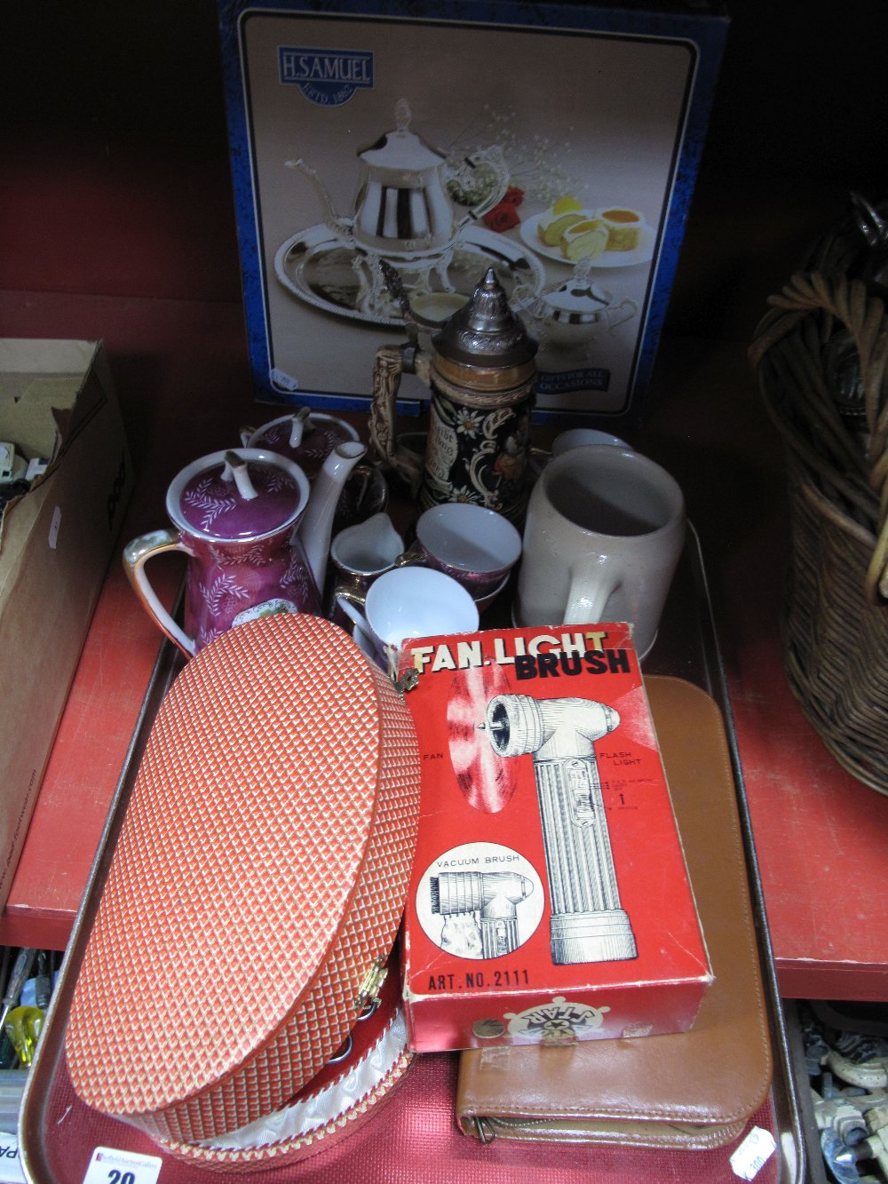 Lot 20 - A Ladies Musical Manicure Box, gent's travelling case, Continental tea service, H Samuel plated