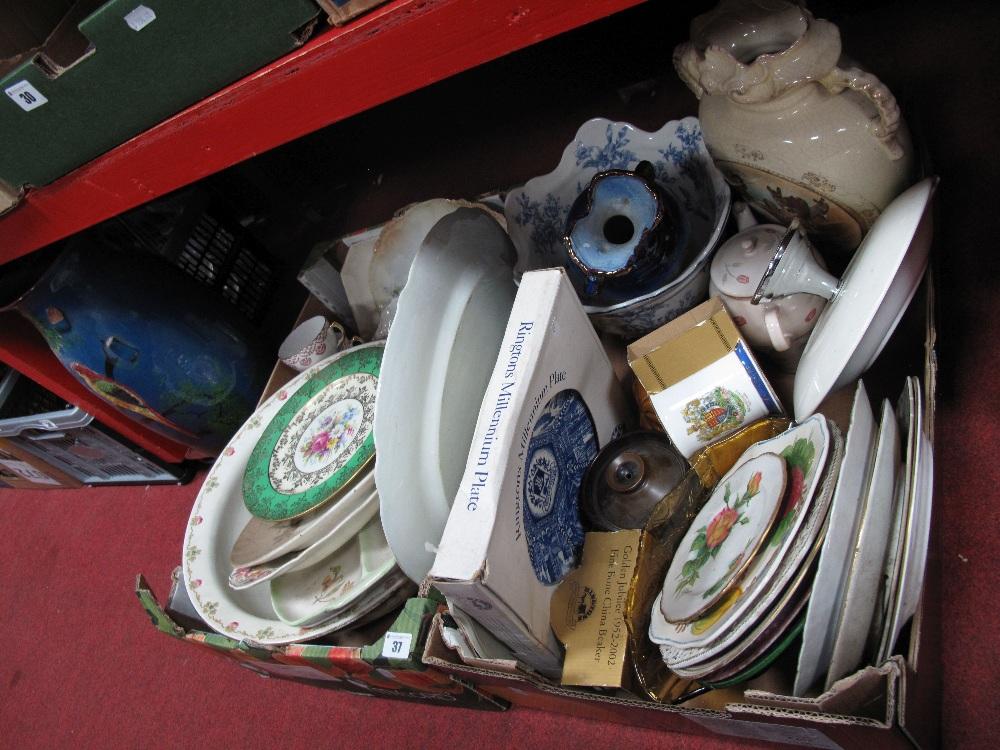 Lot 37 - Vases, plates, Rington's, etc:- Two Boxes