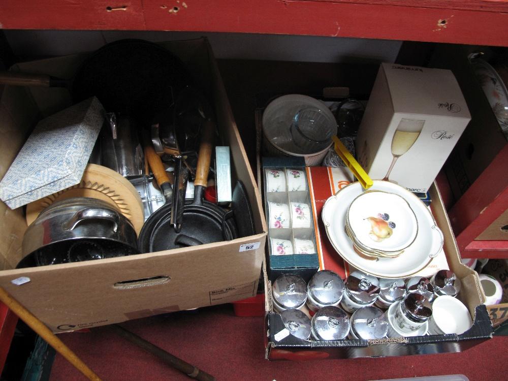 Lot 52 - Royal Worcester Ramekins, ten Worcester egg coddlers, dessert set, flan trays, pans, cast iron