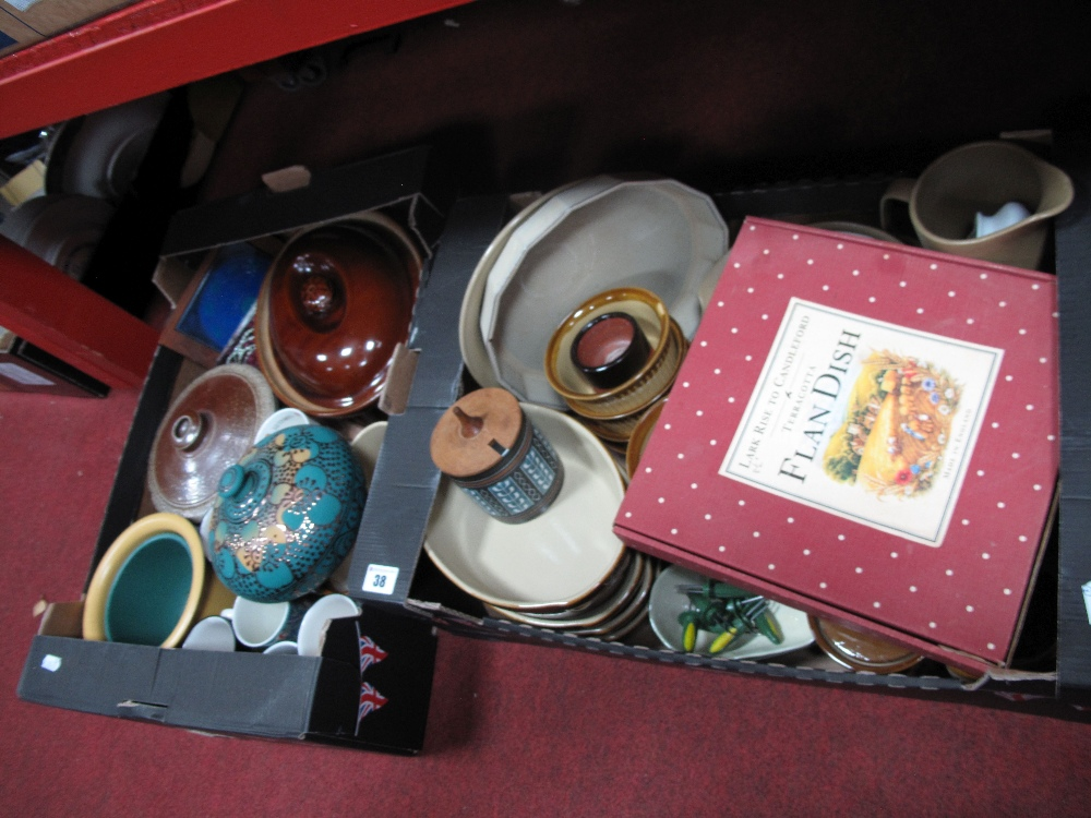Lot 38 - Kitchenalia- Stoneware tureens, cooking pots, flan dishes, avocado dishes, etc:- Two Boxes