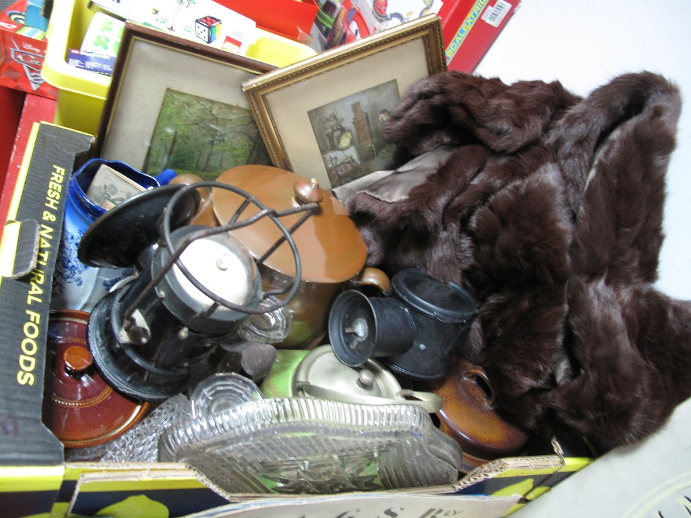 Lot 44 - Casserole Dishes, stadium lamp, pictures, glass trinket set, Dysons cape, etc:- One Box