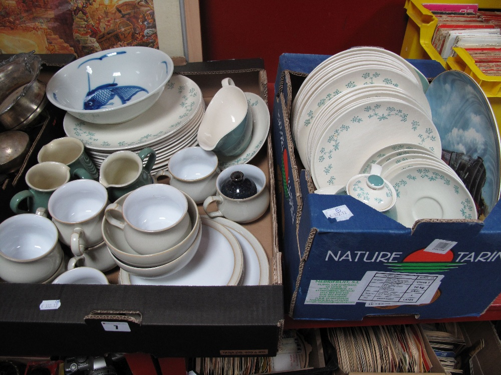 Lot 7 - A Quantity of Royal Doulton 'April Showers' Tea and Dinnerwares, Denby twin tone teacups, saucers,