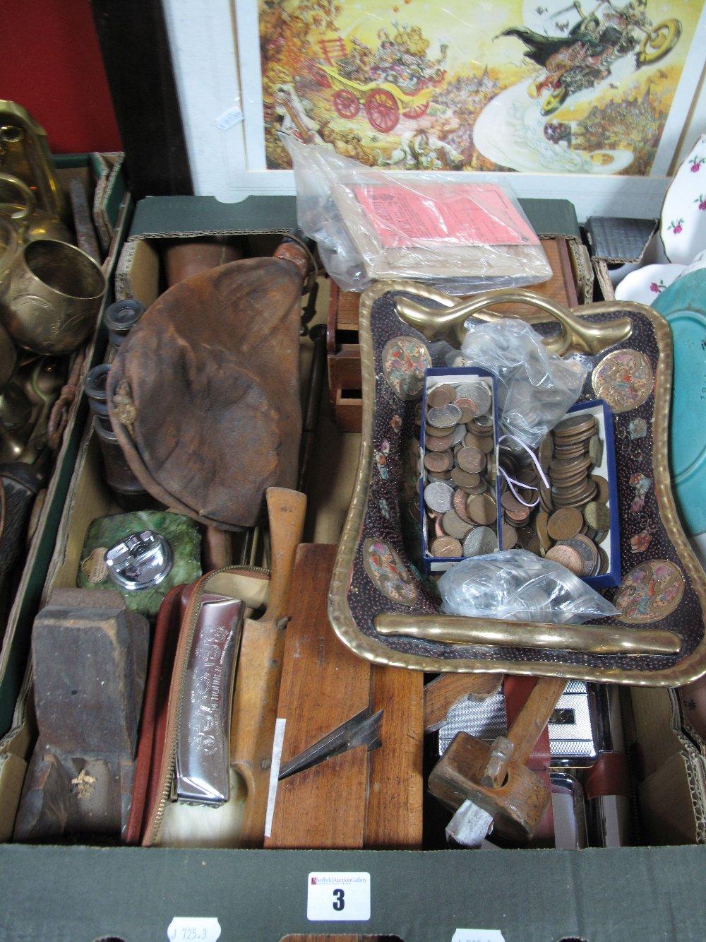 Lot 3 - A Leather Flask, pre decimal G.B coinage, moulding plane, marker, spoke shave, Hohner harmonica,