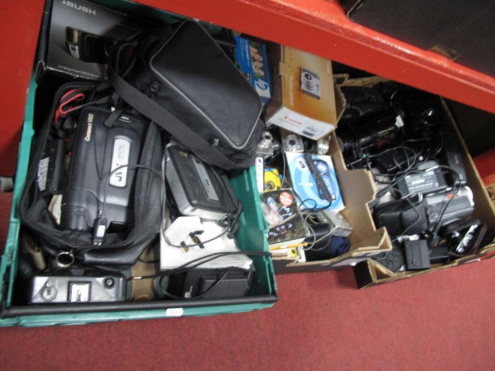 Lot 39 - A Quantity of Cameras- instamatics, cam-corders, digital cameras, accessories:- Three Boxes
