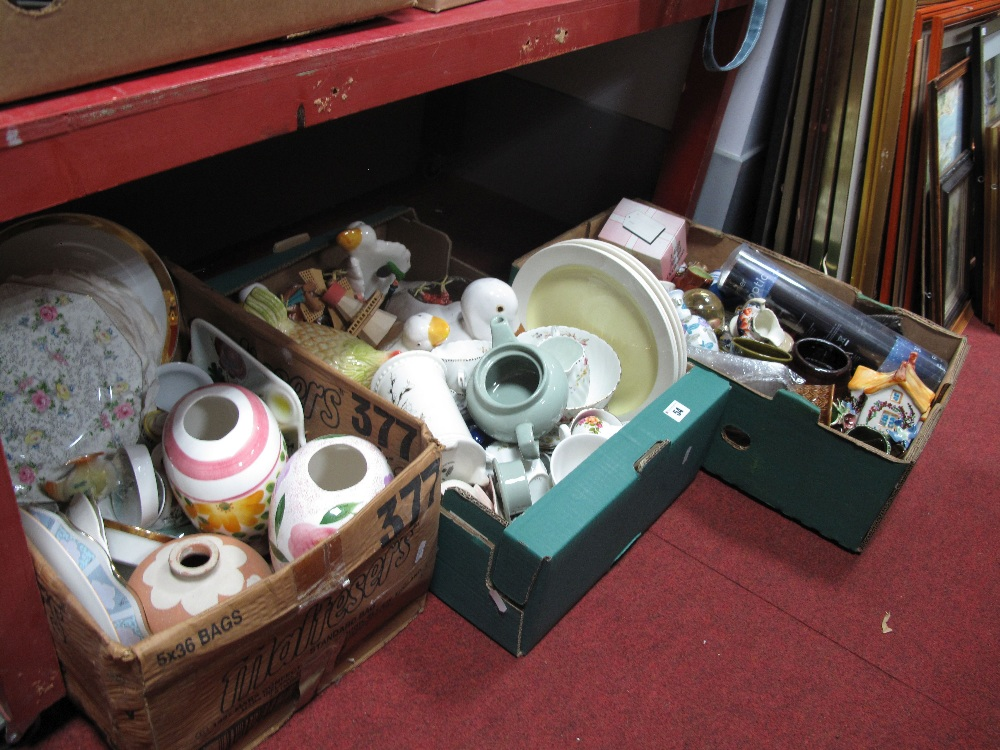 Lot 54 - Plates, vases, model ducks, other ceramics:- Three Boxes