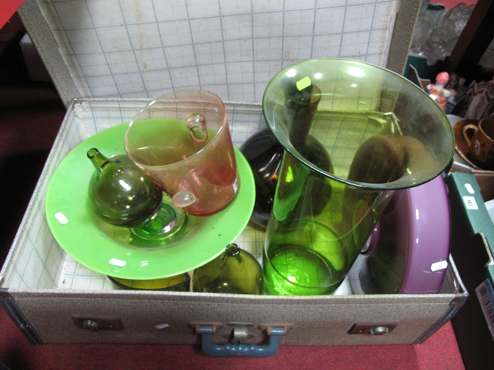 Lot 41 - A Case of Coloured Glass Vases, together with a bowl.
