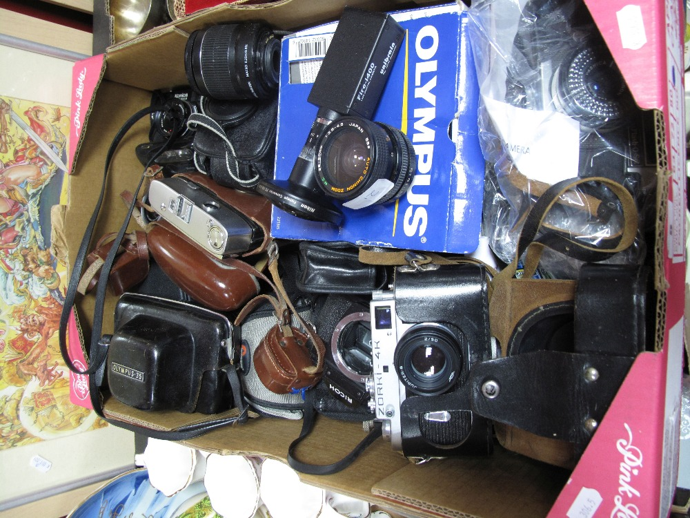 Lot 5 - Canon and Chinon Lenses, Nikon fisheye lens, Ricoh, Yashica, Iconica, Zorki, etc:- One Box