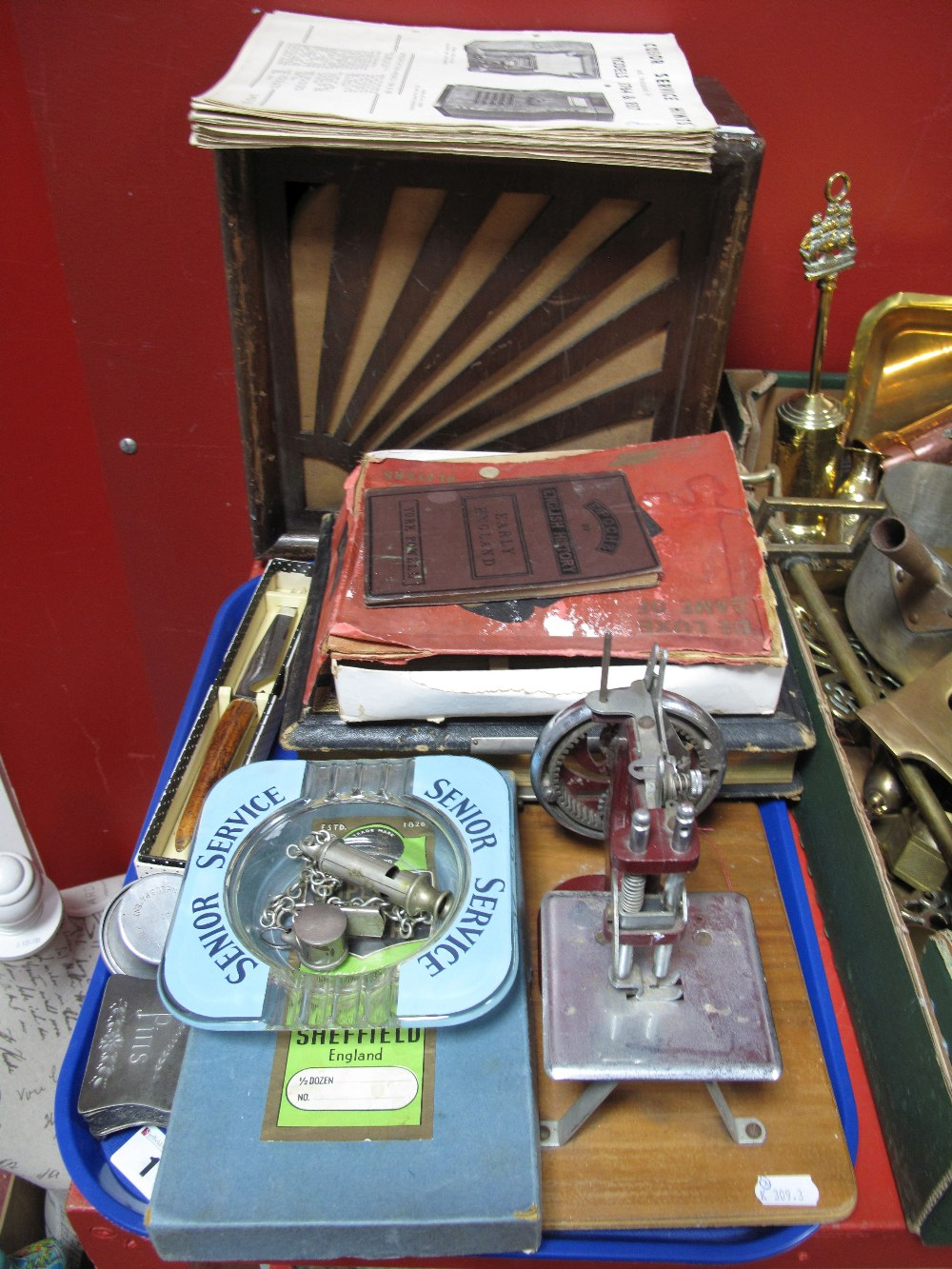 Lot 1 - A Child's Sewing Machine, E.P.B.M pin dish, Acme and Dowler whistles, Senior Service advertising