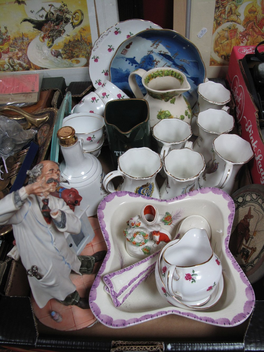 Lot 4 - Pub Water Jugs, St. George mugs, etc:- One Box