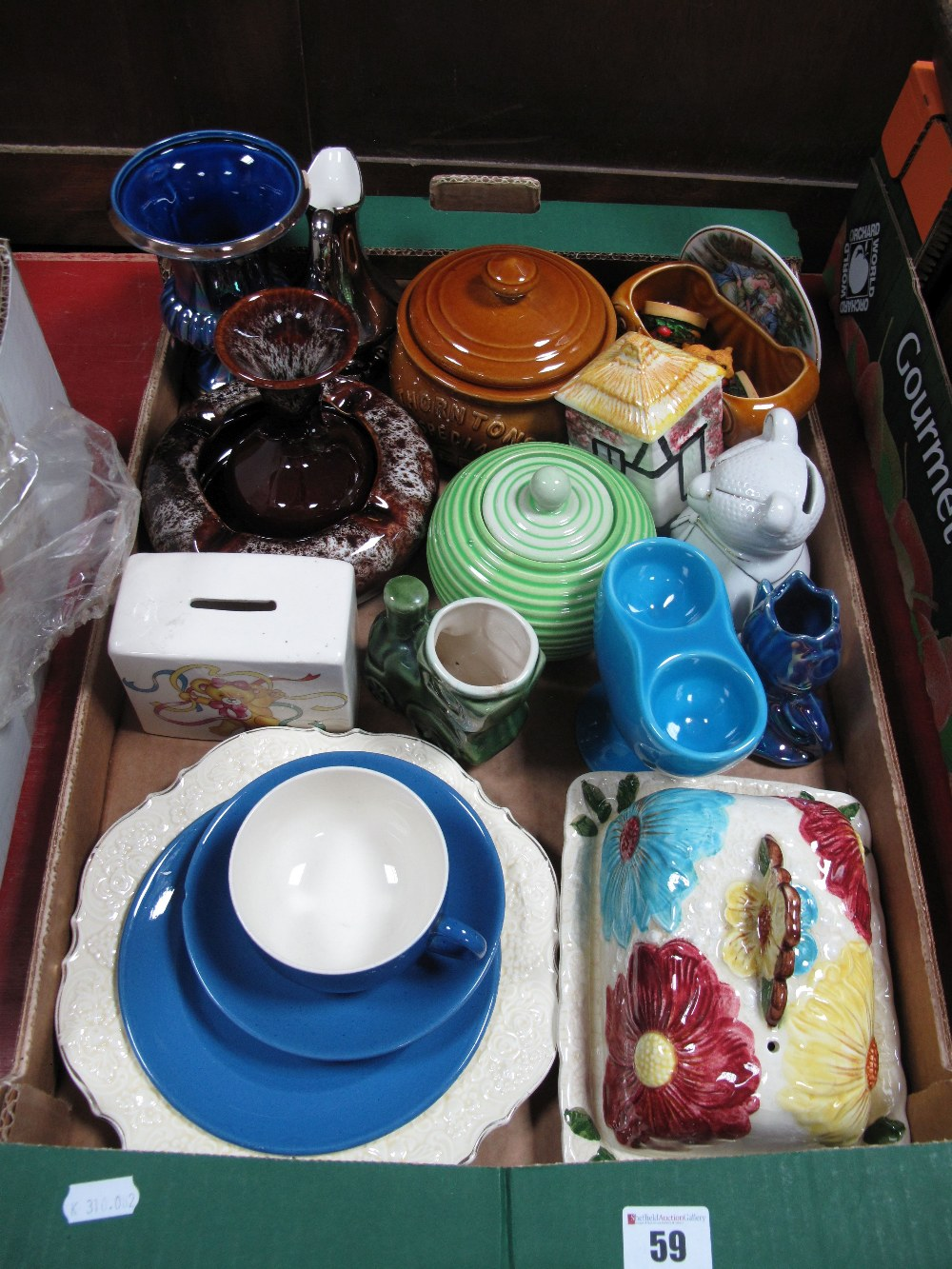 Lot 59 - A Moorcroft Pottery Trio, (saucer chip), money boxes, Price cheese dish, other ceramics:- One Box