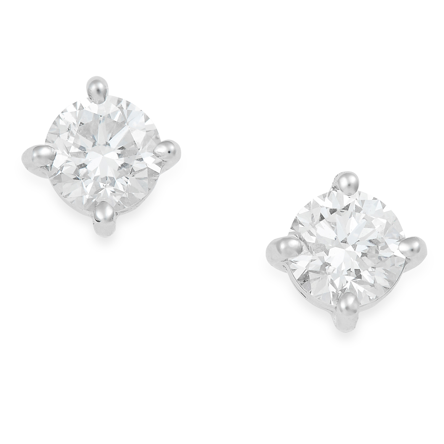 0.50 CARAT DIAMOND EAR STUDS in 18ct white gold, each set with a round cut diamond totalling