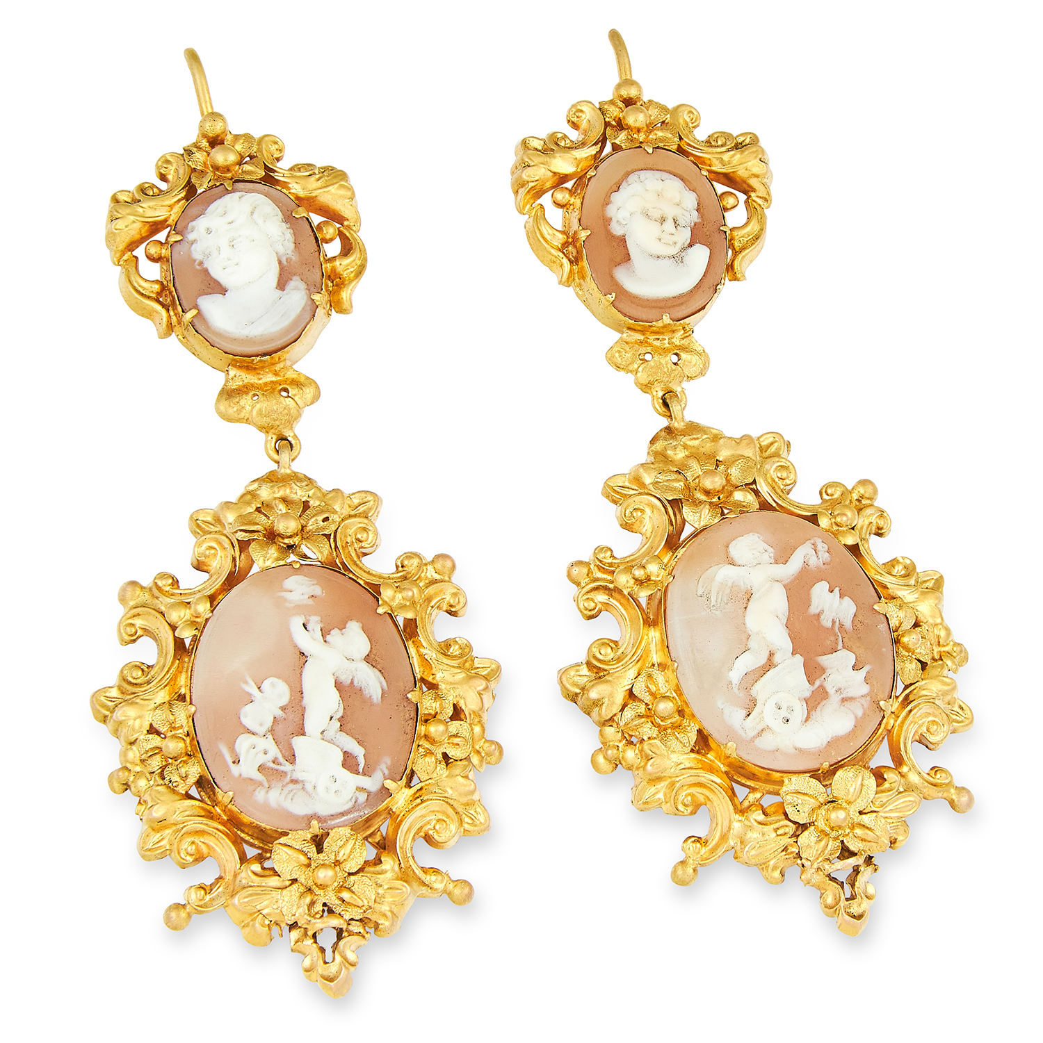 ANTIQUE VICTORIAN CAMEO EARRINGS in high carat yellow gold, each comprising of two carved cameos