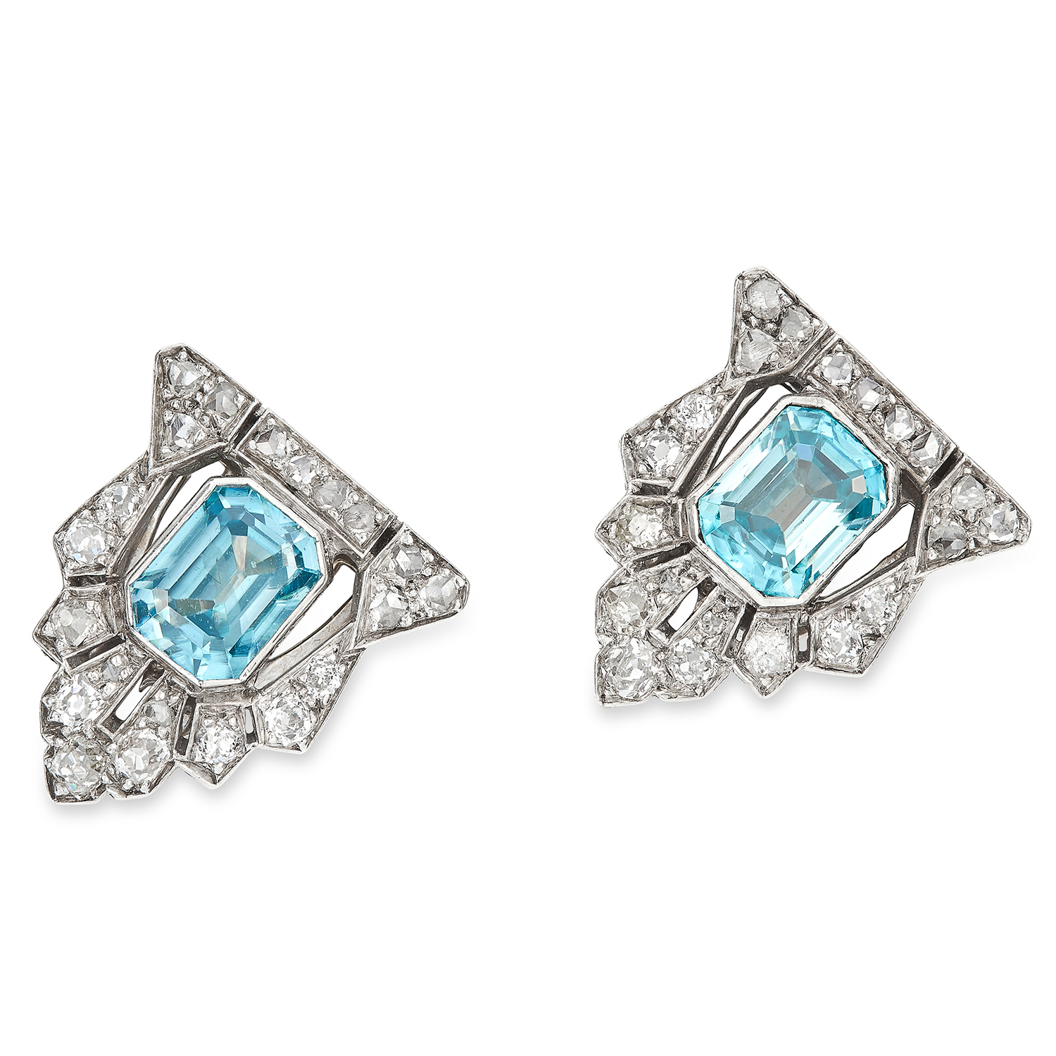 ANTIQUE ART DECO BLUE ZIRCON AND DIAMOND CLIPS in 18ct white gold or platinum, each set with an