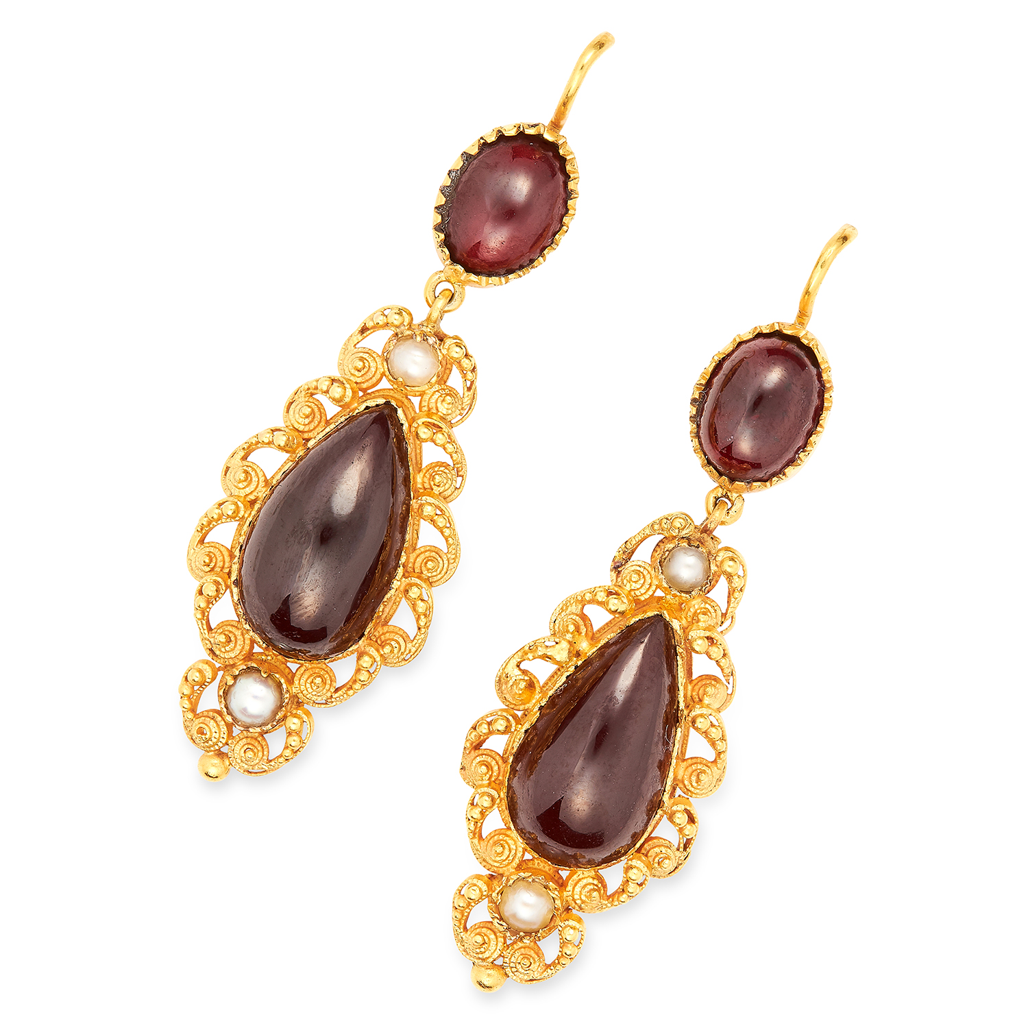 ANTIQUE VICTORIAN GARNET AND PEARL EARRINGS in high carat yellow gold, each set with two cabochon