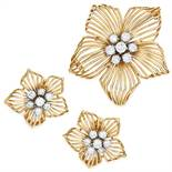 VINTAGE DIAMOND EARRINGS AND BROOCH SUITE, CARTIER in 18ct yellow gold, depicting a flower set