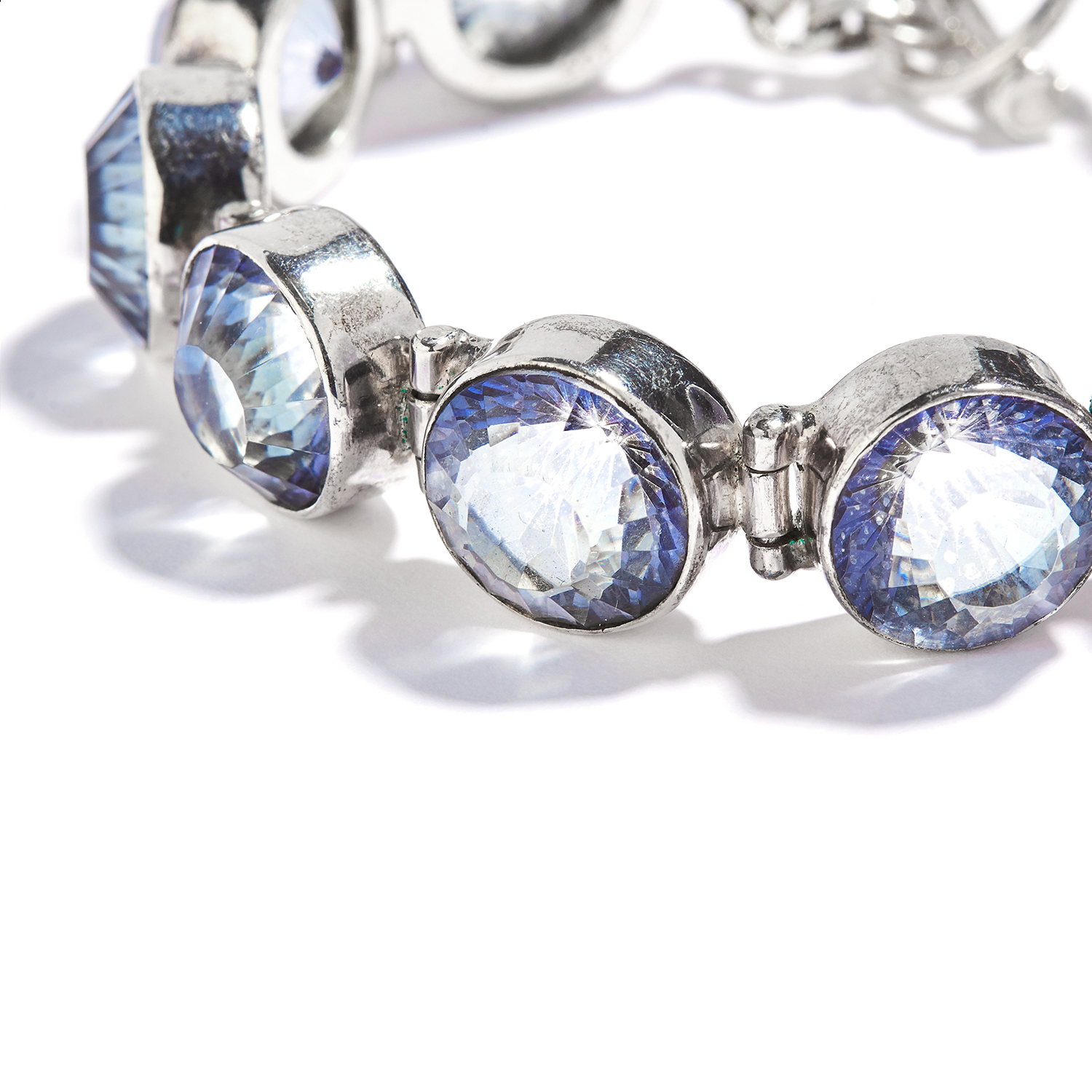 TOPAZ BRACELET AND EARRING SUITE in sterling silver, set with grey/blue faceted topaz, stamped - Image 2 of 3