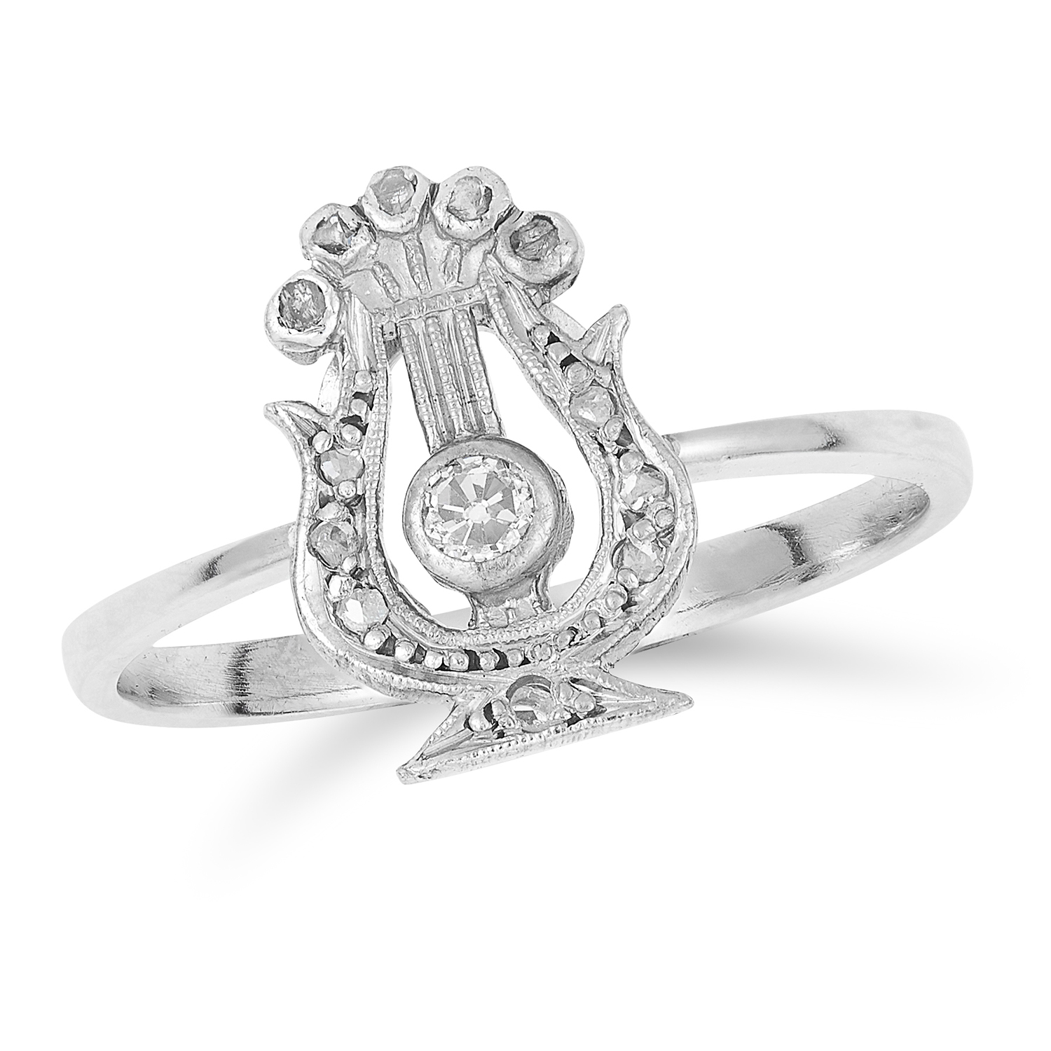 ANTIQUE DIAMOND HARP RING in 18ct white gold or platinum, set with round and rose cut diamonds,